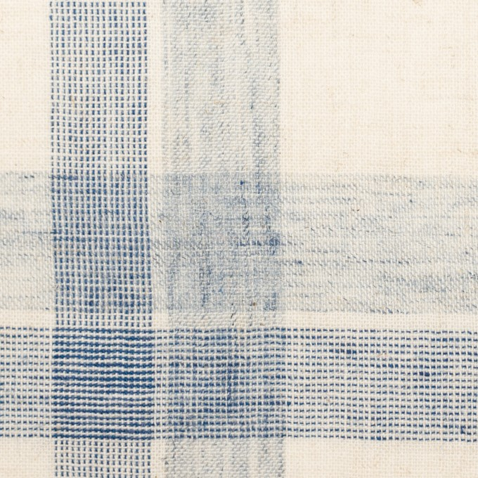 コットン&リネン混×チェック(キナリ&ブルーグレー)×シーチング イメージ1