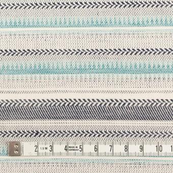 コットン&リネン×ボーダー(アクア&チャコール)×ジャガード サムネイル4