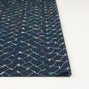 コットン×幾何学模様(ネイビー)×ボイル刺繍 サムネイル3