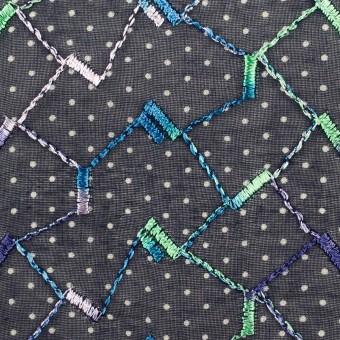 コットン×幾何学模様(ネイビー)×ボイル刺繍