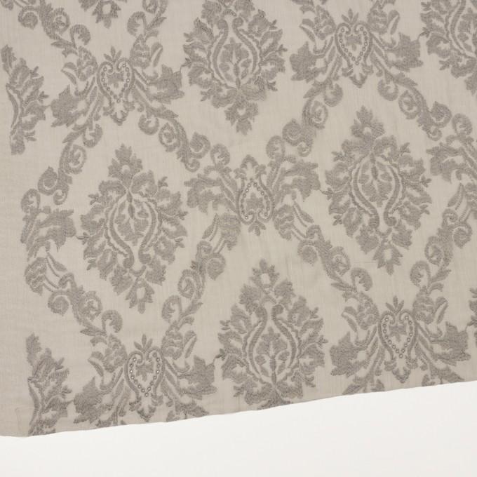 ポリエステル×幾何学模様(カーキグレー)×ジョーゼット刺繍 イメージ2