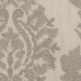 ポリエステル×幾何学模様(カーキグレー)×ジョーゼット刺繍