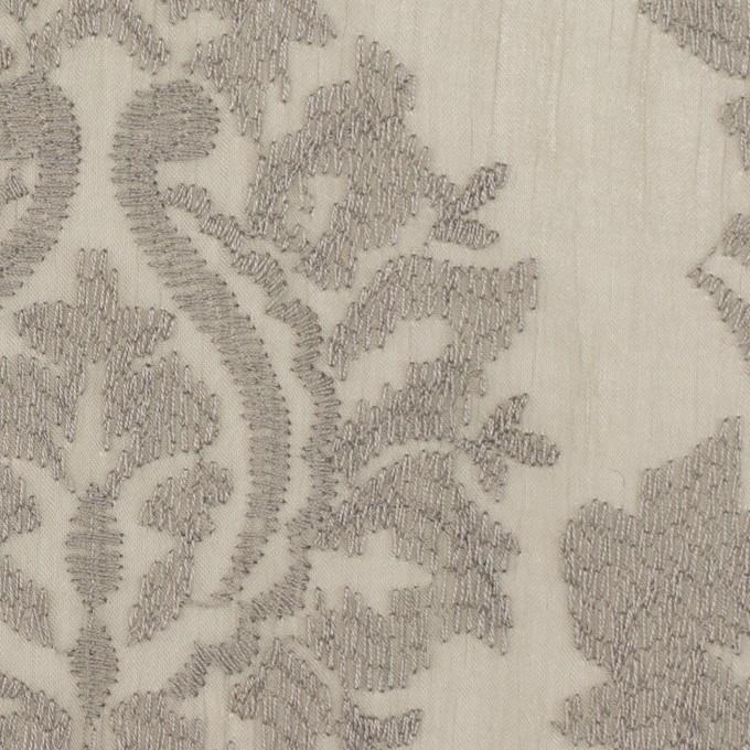 ポリエステル×幾何学模様(カーキグレー)×ジョーゼット刺繍 イメージ1