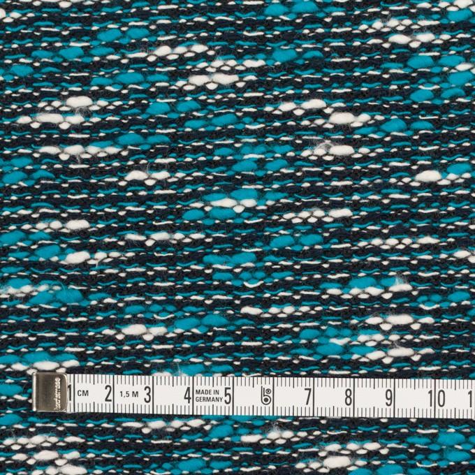コットン&ポリエステル×ミックス(ターコイズブルー&ブラック)×ファンシーニット イメージ4