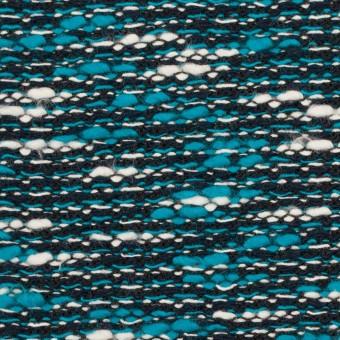 コットン&ポリエステル×ミックス(ターコイズブルー&ブラック)×ファンシーニット サムネイル1