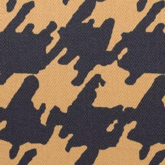 コットン&ポリウレタン×ペイント(ベージュ&ダークネイビー)×チノクロス・ストレッチ