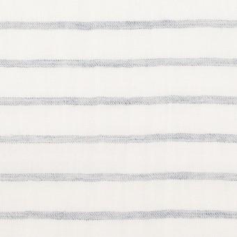 コットン&ラミー×ボーダー(オフホワイト&ネイビー)×ガーゼワッシャー_全3色 サムネイル1