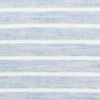コットン&ラミー×ボーダー(ブルー)×ガーゼワッシャー_全3色