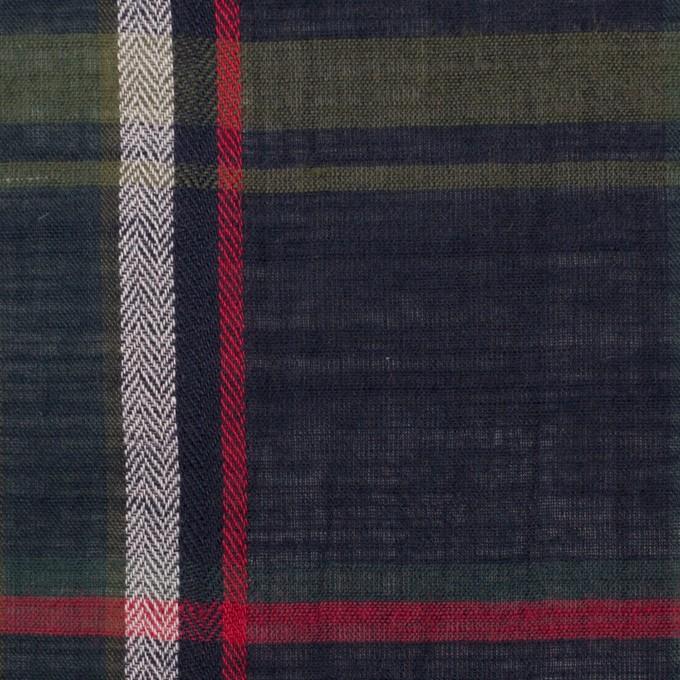 コットン×チェック(ダークネイビー、カーキグリーン&レッド)×ボイルワッシャー イメージ1