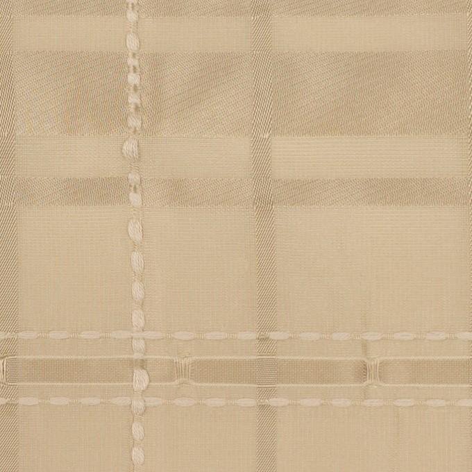 ポリエステル&コットン×チェック(カーキベージュ)×ジャガード イメージ1