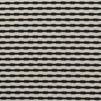 シルク&コットン×ボーダー(オキシダイズド・シルバー&ブラック)×ジャガード