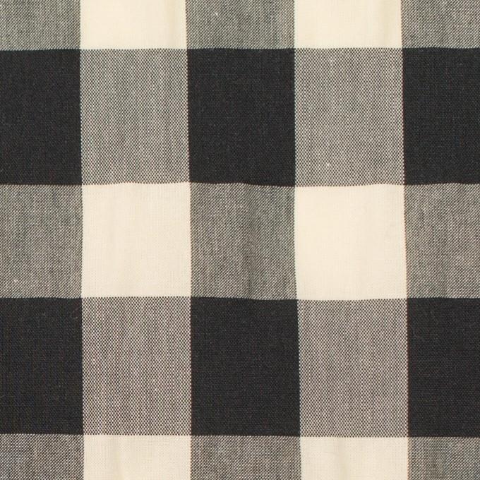 コットン&ナイロン×チェック(キナリ&ブラック)×高密ブロードワッシャー イメージ1