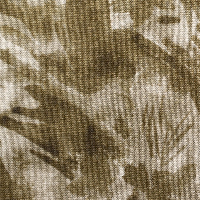 レーヨン&リネン×ボタニカル(カーキグリーン)×天竺ニット_全2色 イメージ1