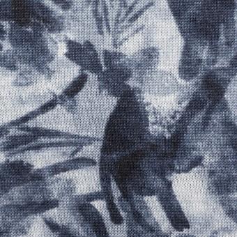 レーヨン&リネン×ボタニカル(ネイビー)×天竺ニット_全2色