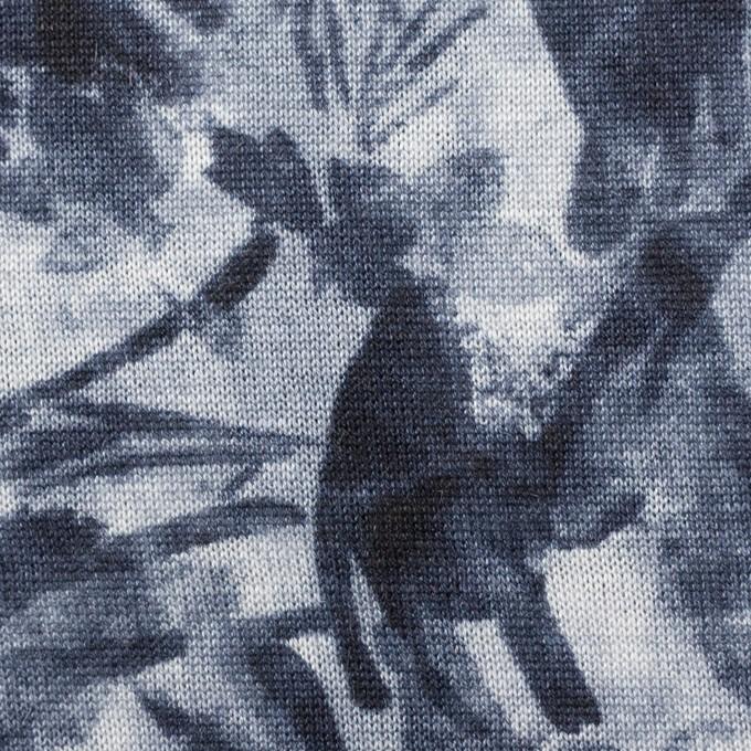 レーヨン&リネン×ボタニカル(ネイビー)×天竺ニット_全2色 イメージ1