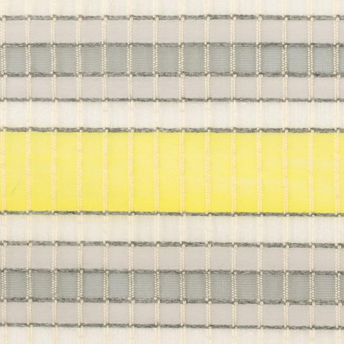 ナイロン&コットン×ボーダー(イエロー&グレー)×オーガンジー・ジャガード_全2色 イメージ1