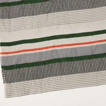 コットン&ナイロン混×ボーダー(パッションオレンジ、モスグリーン&ライトグレー)×ジャガードワッシャー_全2色 サムネイル2