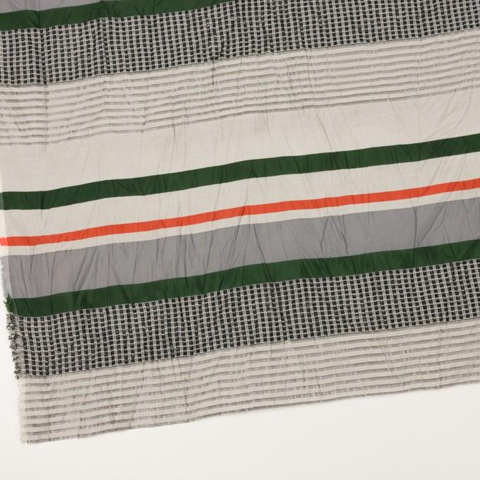 コットン&ナイロン混×ボーダー(パッションオレンジ、モスグリーン&ライトグレー)×ジャガードワッシャー_全2色 イメージ2