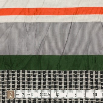 コットン&ナイロン混×ボーダー(パッションオレンジ、モスグリーン&ライトグレー)×ジャガードワッシャー_全2色 サムネイル4