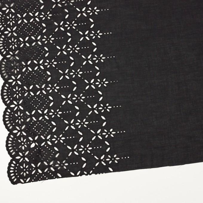 コットン×ボーダー(ダークプラムグレー)×ローン刺繍No2_全4色 イメージ2