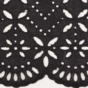 コットン×ボーダー(ダークプラムグレー)×ローン刺繍No2_全4色