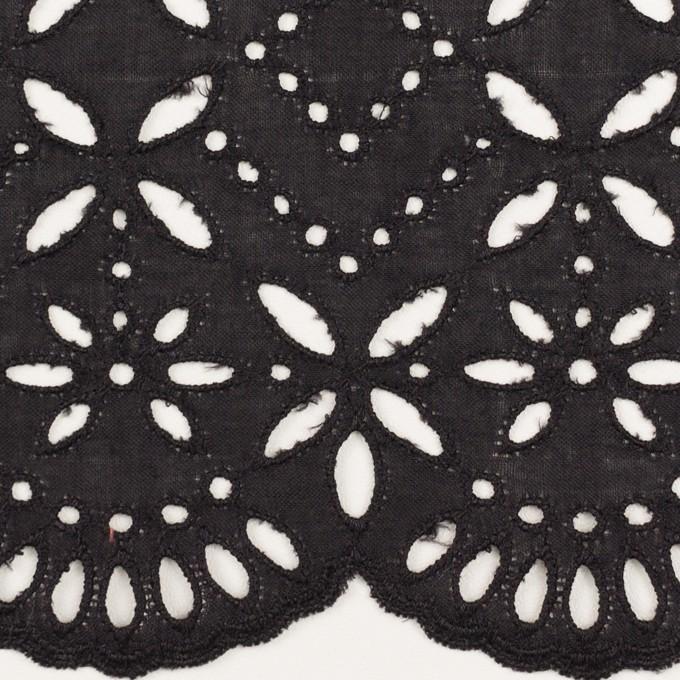 コットン×ボーダー(ダークプラムグレー)×ローン刺繍No2_全4色 イメージ1