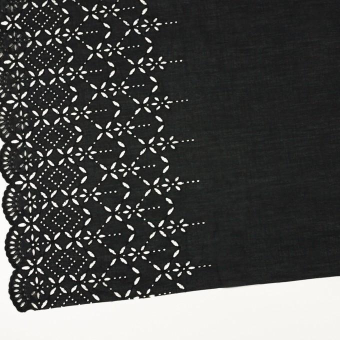 コットン×ボーダー(ブラック)×ローン刺繍No2_全4色 イメージ2