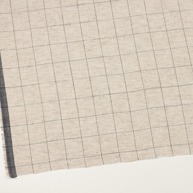 コットン&リネン×チェック(グレイッシュベージュ&ネイビー)×サージ イメージ2