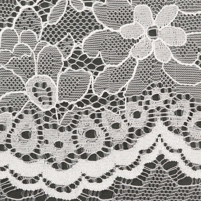 ナイロン&ポリエステル×フラワー(ホワイト)×ラッセルレース_全3色 イメージ1