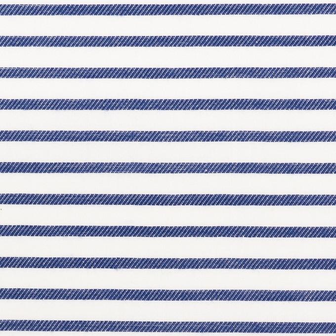 コットン×ボーダー(ブルー)×かわり織 イメージ1