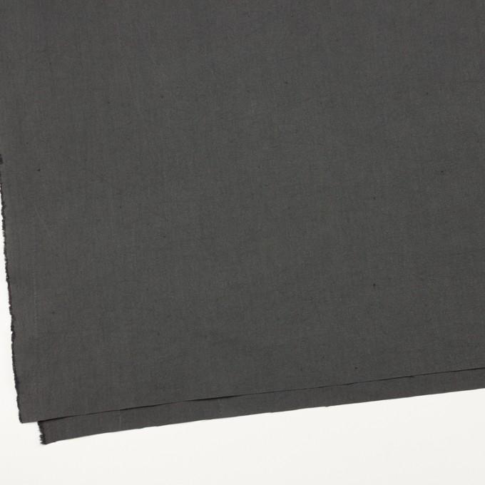 コットン&リネン×無地(チャコールグレー)×厚オックスフォード・ワッシャー_イタリア製 イメージ2