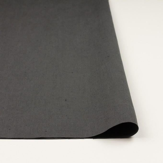 コットン&リネン×無地(チャコールグレー)×厚オックスフォード・ワッシャー_イタリア製 イメージ3