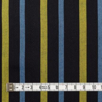 テンセル×ストライプ(ブラック、イエロー&サックス)×サージジャガード_全2色 サムネイル4