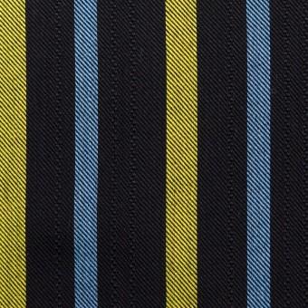 テンセル×ストライプ(ブラック、イエロー&サックス)×サージジャガード_全2色 サムネイル1