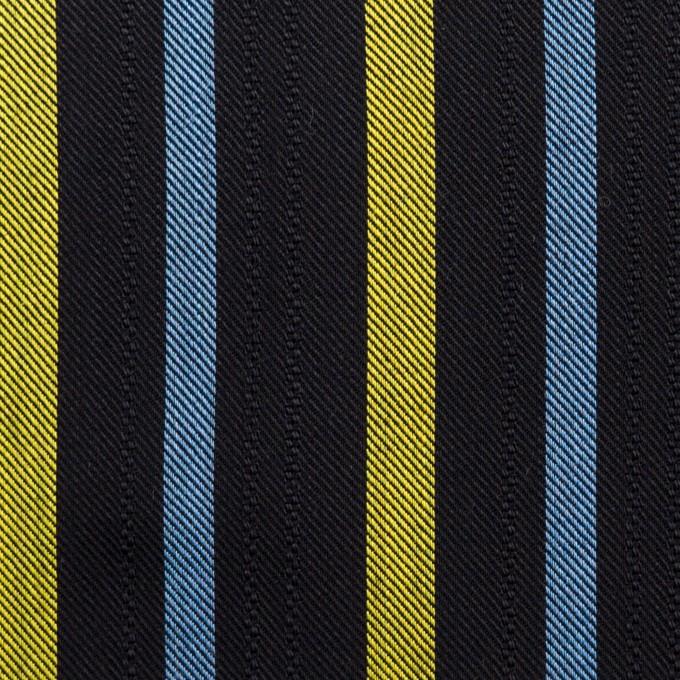 テンセル×ストライプ(ブラック、イエロー&サックス)×サージジャガード_全2色 イメージ1