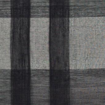 シルク&コットン×チェック(ブラック)×オーガンジー