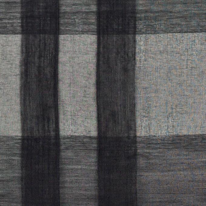 シルク&コットン×チェック(ブラック)×オーガンジー イメージ1