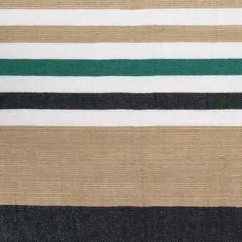 リネン&ナイロン×ボーダー(オークル、ブラック&モスグリーン)×ポプリンワッシャー