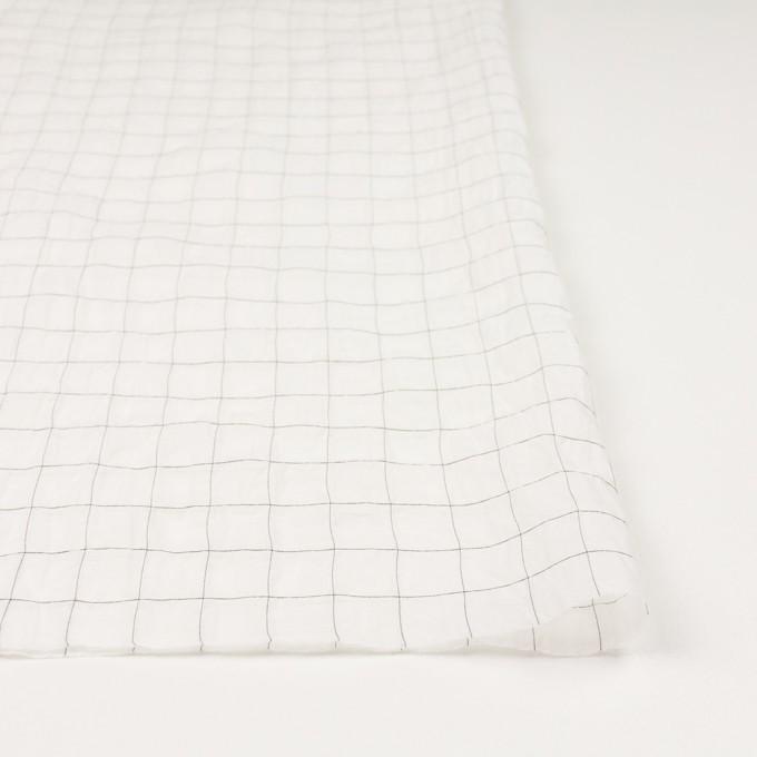 コットン&シルク混×チェック(オフホワイト&ブラック)×オーガンジー・ワッシャー_全4色 イメージ3