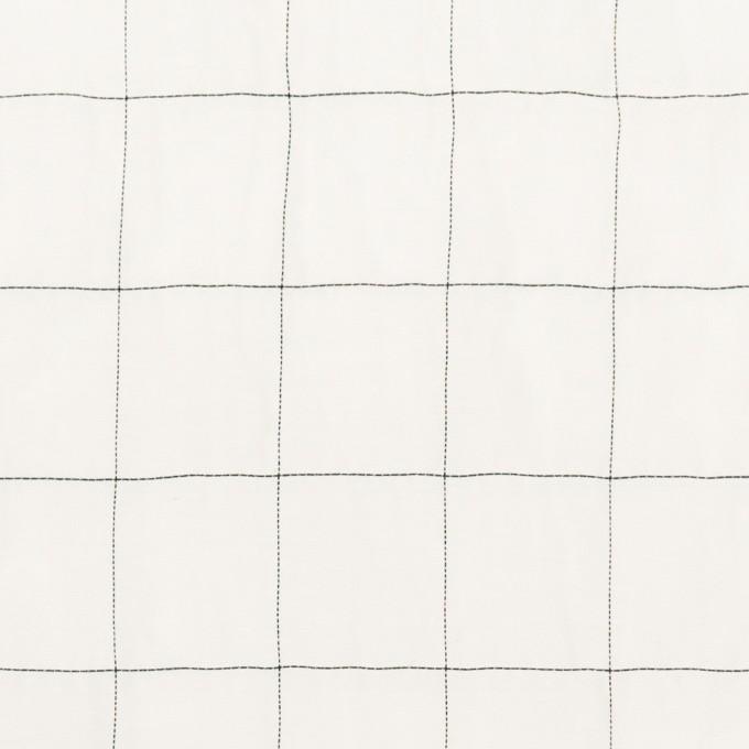 コットン&シルク混×チェック(オフホワイト&ブラック)×オーガンジー・ワッシャー_全4色 イメージ1