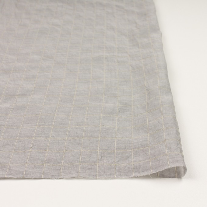コットン&シルク混×チェック(シルバーグレー&クリームイエロー)×オーガンジー・ワッシャー_全4色 イメージ3