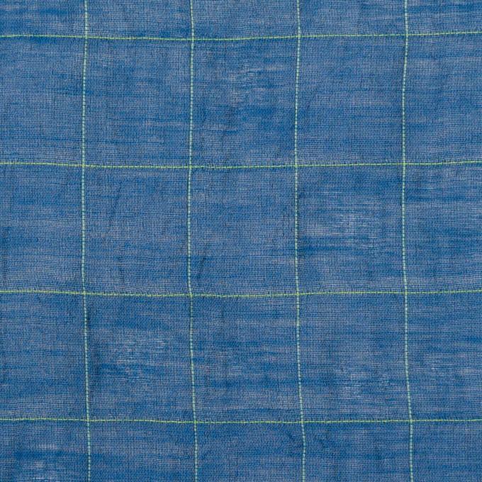 コットン&シルク混×チェック(アイアンブルー&ライムグリーン)×オーガンジー・ワッシャー_全4色 イメージ1
