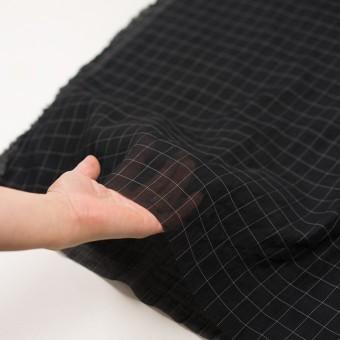 コットン&シルク混×チェック(ブラック&ホワイト)×オーガンジー・ワッシャー_全4色 サムネイル5