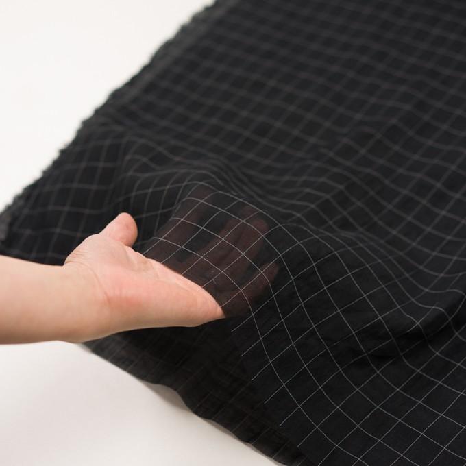 コットン&シルク混×チェック(ブラック&ホワイト)×オーガンジー・ワッシャー_全4色 イメージ5