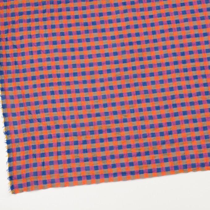 コットン&ポリウレタン×チェック(オレンジ&ブルー)×ボイルシャーリング_全3色 イメージ2