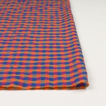 コットン&ポリウレタン×チェック(オレンジ&ブルー)×ボイルシャーリング_全3色 サムネイル3