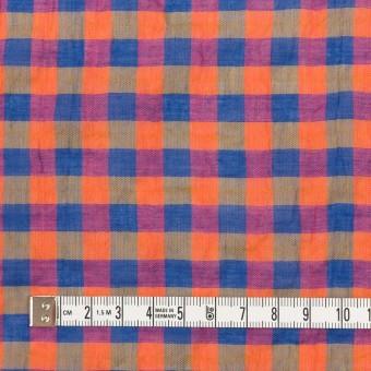 コットン&ポリウレタン×チェック(オレンジ&ブルー)×ボイルシャーリング_全3色 サムネイル4