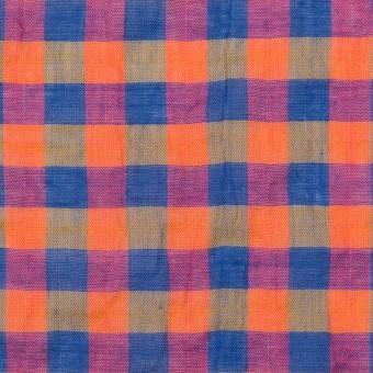 コットン&ポリウレタン×チェック(オレンジ&ブルー)×ボイルシャーリング_全3色 サムネイル1