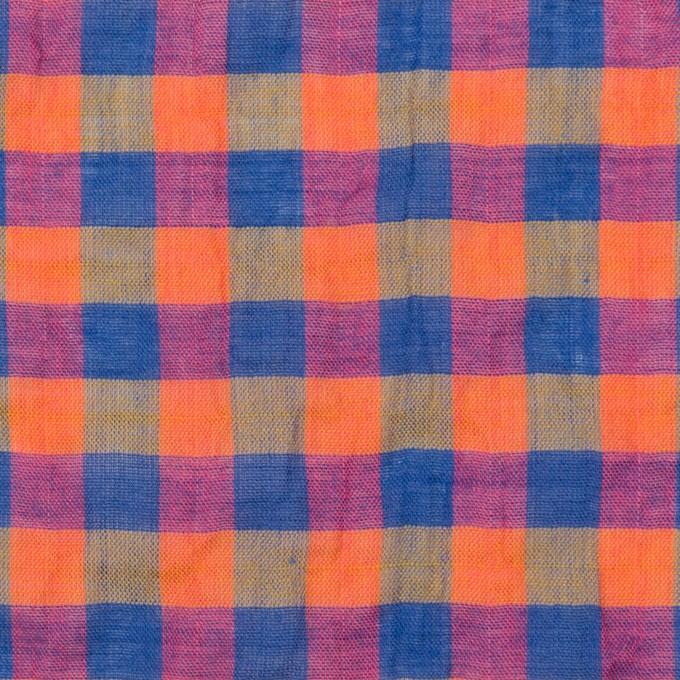 コットン&ポリウレタン×チェック(オレンジ&ブルー)×ボイルシャーリング_全3色 イメージ1
