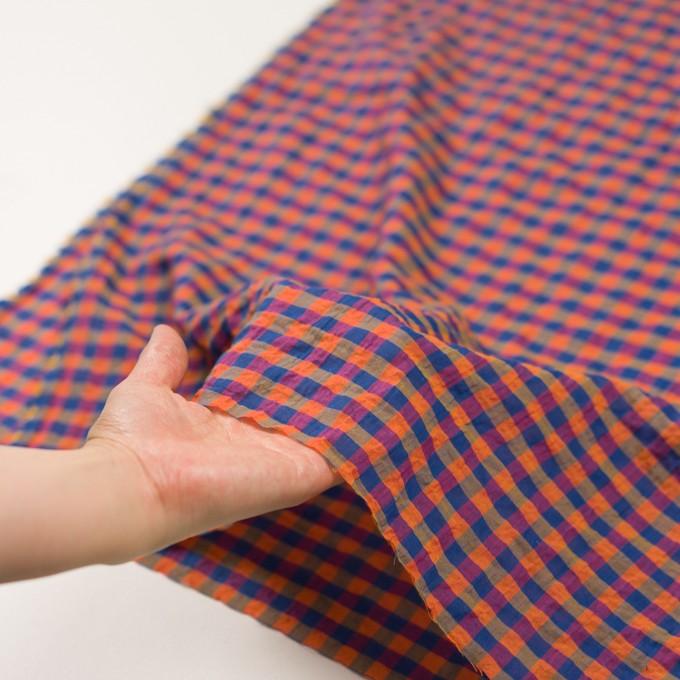コットン&ポリウレタン×チェック(オレンジ&ブルー)×ボイルシャーリング_全3色 イメージ5